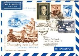 Österreich Dekorative Ballonpost  V. Villach 1951 - Landeort Arnoldstein Und Weiter Nach Luxemburg - Par Ballon