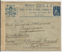 1915 - ENVELOPPE CENSUREE De LISBONNE (PORTUGAL) Pour CLERMONT - FABRICATION VIGNETTE PATRIOTIQUE PUB PNEUS BERGOUGNAN - 1910-... République