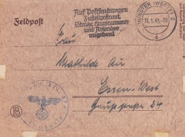 Feldpost WW2: Landesschützen Bataillon 3/474 P/m Münster (Westf) 11.1.1943 - Letter Inside. The Unit Was Used For Guardi - Militaria