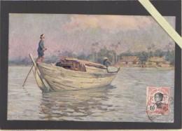 Asie - Cochinchine - Illustrateur L.Frequenez - Lot 2 CP : N°1 Sampaner Et N°9 Charrette Mois  - Voyagé Obliteration - Cartes Postales