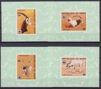 Niger 1985 – WWF NIGER Antilope 4 Deluxe Foglietti Imperf MNH - W.W.F.