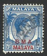Malaya, BMA, Straits Settlements 15 C. 1945, Sc # 265, Mi # 9y, Used - Malaya (British Military Administration)