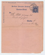 Germany Deutschland PRIVATPOST KARTE BERLINER VERKEHRS ANSTALT KARTENBRIEF 1896 - Other