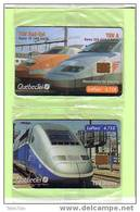 CANADA TRAIN Trene ZUG TGV 2 CARTES N° 1 ET 2 SERIE SUR 4 NSB MINT SNCF VERSO TRES  RARE 500 EX - Canada