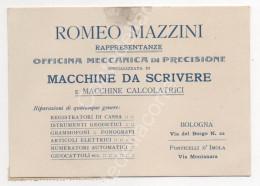 ROMEO MAZZINI - MACCHINE DA SCRIVERE E CALCOLATRICI (BOLOGNA IMOLA) FATTURA RICEVUTA FORMATO CARTOLINA PUBBLICITA - 1916 - Italie