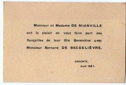 VP6557 - Faire Part De Fiançaille De Geneviève De MIANVILLE Avec Mr Bernard De BECDELIEVRE à ORCONTE - Engagement