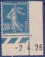 30 C Semeuse Camée Bleu Type 2A Coin De Feuille Avec Guillochis Et Date 2.4.1926 – Neuf Sans Charnière - 1906-38 Sower - Cameo