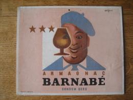 Ancien Carton Publicitaire Original 1945 Illustré Par SAVIGNAC - ARMAGNAC BARNABE CONDOM GERS - Publicité ALJANVIC - Paperboard Signs