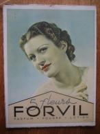 """Ancien Carton Publicitaire Original De 1926 - Parfum FORVIL """"LES 5 FLEURS"""" - Placas De Cartón"""