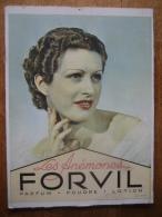 """Ancien Carton Publicitaire Original De 1929 - Parfum FORVIL """"LES ANEMONES"""" - Placas De Cartón"""