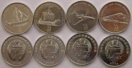 NORD NORTH COREA KOREA 2002 SERIE 4 MONETE DA 0,5 CHON SHIP TRAIN PLANE FDC UNC - Korea, North