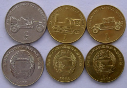 NORD NORTH COREA KOREA 2002 SERIE 3 MONETE 1-1-2-CHON LOCOMOTIVE AUTOMOBILI ANTICHE FDC UNC - Corée Du Nord