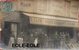 93 - Carte Photo - NOISY LE GRAND - A L'ARRIVEE DES TRAMWAYS - Maison MORIN - Cafe - Devanture - Lire Descriptif - Noisy Le Grand