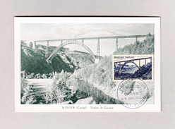 Frankreich Maximum Karte Ersttag 5.7.1952 Viaduc De Garabit St Flour Cantal - Cartes-Maximum