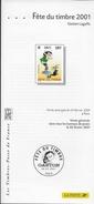 2001 FETE DU TIMBRE  NOTICE PHILATELIQUE GASTON LAGAFFE - Documents De La Poste