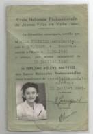 Isère - 38 - Vizille  école Professionnelle De Jeunes Filles 1941 Carte D'identité - Diploma & School Reports
