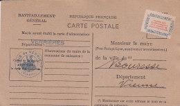 Be - VERRIERES (86) Ravitaillement Général Pour Le Maire De BOURESSE (86) Carte Postale Fiche De Contrôle - France