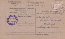 Be - CALUIRE (69) Ravitaillement Général Pour Le Maire De St SATURNIN (63) Carte Postale Fiche De Contrôle - Caluire Et Cuire