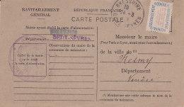 Be - BRESSUIRE (79) Ravitaillement Général Pour Le Maire De MESMY (85) Carte Postale Fiche De Contrôle - Bressuire