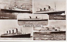 8813. CPA PHOTO GIANTS OF THE ATLANTIC. WASHINGTON. QUEEN MARY. QUEEN ELIZABETH. AQUITANIA. AMERICA. - Paquebots