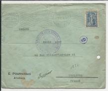 GRECE - 1915 - ENVELOPPE De ATHENES Avec CENSURE Du CONTROLE POSTAL De MARSEILLE Pour TOULOUSE - Grecia