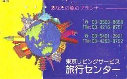 Télécarte Japon ESPACE (846)  GLOBE * SATELLITE * TERRESTRE * MAPPEMONDE * Telefonkarte Phonecard JAPAN * - Spazio