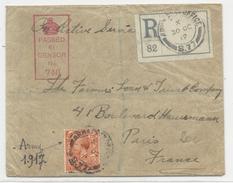 GB - 1917 - ENVELOPPE RECOMMANDEE Du SECTEUR MILITAIRE N°77 Avec CENSURE Pour PARIS - Marcofilie