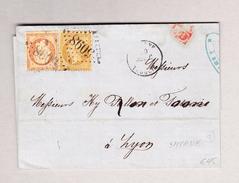 Frankreich SMYRNE 20.9.1868 Turquie Brief Nach Lyon Mit Napoleon 10 Und 40c Gest.#5098 - Napoleon III