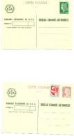 France Lot De 4 Enriers 2 Tsc Et Deux Repiquages - Bureau Commun Automobile - Les 4 Net 25 Euros - Biglietto Postale