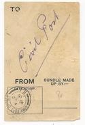 GB - 1915 - ETIQUETTE D'ACCOMPAGNEMENT Du COURRIER CIVIL Par La POSTE AUX ARMEES - ARMY POST OFFICE - Poststempel