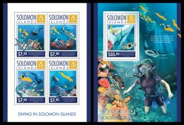 SOLOMON Isl. 2014 - Diving In Solomon Islands - YT 2176-9 + BF295; CV = 27 € - Islands
