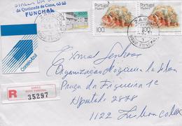 TIMBRES - STAMPS - LETTRE RECOMMANDÉ - REGISTERED LETTER - PORTUGAL -1989- POISSONS ÎLE MADEIRA -  Scorpaena Madeirensis - 1910-... République