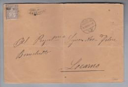 Heimat CH TI Auressio 1880-07-11 (Locarno) Strahlenstempel Auf Brief Nach Locarno Auf 5Rp.Sitzende Helvetia - Lettres & Documents