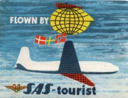 Etiquette  Baggage à Coller  -  Flown  By   S.A.S  - Tourist  -   Scandinavian  Airlines  System - Aufkleber