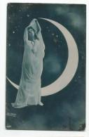Femme Dans Décor Montage Photo Nuit Croissant De Lune 1907 - Mujeres