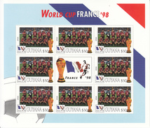 1998 Guyana Copa Del Mundo Fútbol Francia Equipo España Miniatura Hoja De 8 Gran Regalo De Navidad - Coupe Du Monde