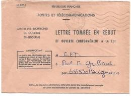 OBLITERATION MECANIQUE SUR LETTRE TOMBEE EN REBUT DE RECHERCHES DU COURRIER DE LIBOURNE 1973 - Marcophilie (Lettres)
