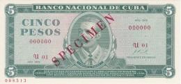 SPECIMEN BILLETE DE CUBA DE 5 PESOS DEL AÑO 1972 DE ANTONIO MACEO (BANKNOTE) SIN CIRCULAR-UNCIRCULATED - Cuba