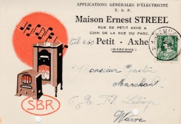 PETIT - AXHE ,carte Publicité ,Ernest Streel ,SBR ,électricité ,T S F ,radio - Waremme