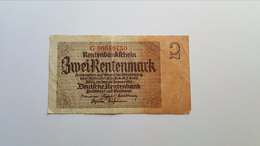 GERMANIA 2 RENTENMARK 1937 - [ 3] 1918-1933 : Repubblica  Di Weimar
