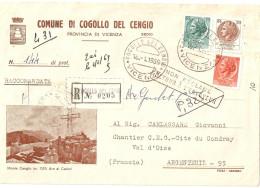 """BUSTA COMUNALE INTESTATA """"COMUNE DI COGOLLO DEL CENGIO"""" CON VEDUTA DEL MONTECENGIO  (M1351 ARA AI CADUTI - CROCE) - 1961-70: Marcophilie"""
