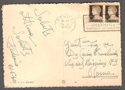 """1940 RARO ANNULLO A TARGHETTA """"VISITATE LA MOSTRA DEL PREMIO CREMONA"""" SU BELLA CARTOLINA CREMONA PANORAMA - Storia Postale"""