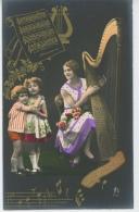 """ENFANTS - LITTLE GIRL - MAEDCHEN - Jolie Carte Fantaisie Portrait Fillettes Et Femme Musicienne Avec Harpe """"Bonne Fête """" - Portraits"""