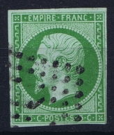 France: Yv Nr 12b Vert Foncé Obl Used  1860  Mi 11 Cachet Avec J - 1853-1860 Napoleon III