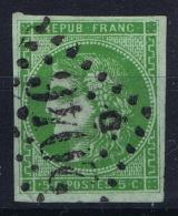 France: Yv Nr 42B H Vert (controle Couleur Guide Brun)  Obl Used GC 2646 Lille  Cote 900 Euro - 1870 Emission De Bordeaux
