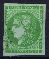 France: Yv Nr 42B  Vert-jaune (controle Couleur Guide Brun)  Obl Used - 1870 Ausgabe Bordeaux