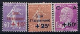 France: Yv Nr 249 - 251 MNH/**/postfrisch/neuf Sans Charniere 1927  Caisse D'Amortissement  1928 - France