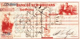 Bank Of New Orleans  Vecchio Titolo Di Credito Con Bolli Al Retro 1869 - Bills Of Exchange
