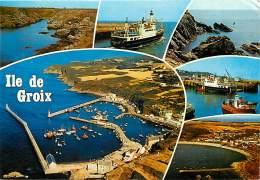 -ref-R919 - Morbihan - Groix - Ile De Groix -  Souvenir De .. Multi Vues -dont Port Tudy - Bateau Jean Pierre Calloch .. - Groix