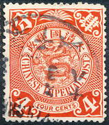 Stamp China Coil Dragon Chinese Imperial Post 4c 1905-10 Used Lot15 - Oblitérés